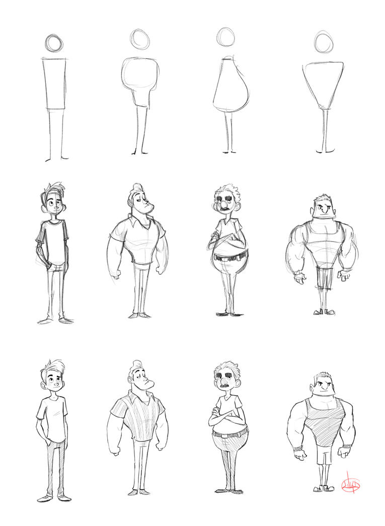 2d Character Design Pdf : Character shape sketching with video link by luigil on