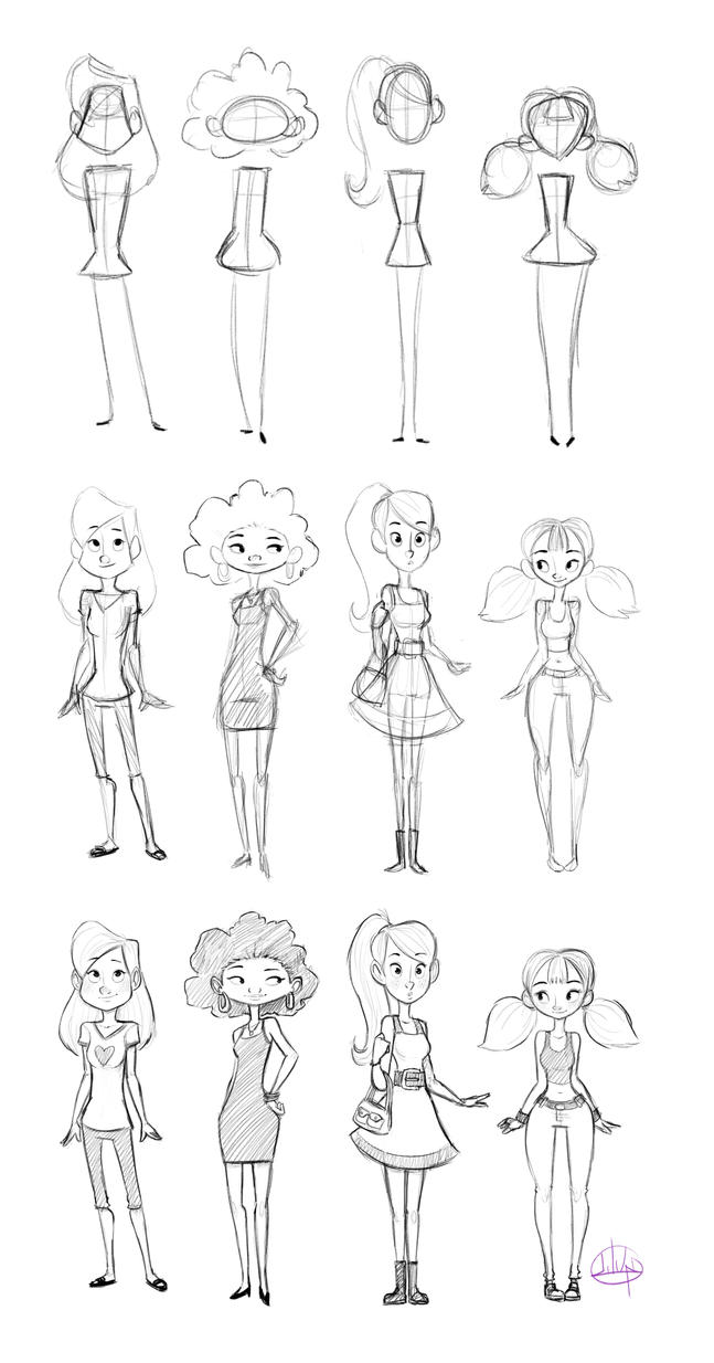 Female Character Design Tutorial : Character shape sketching with video link by luigil on