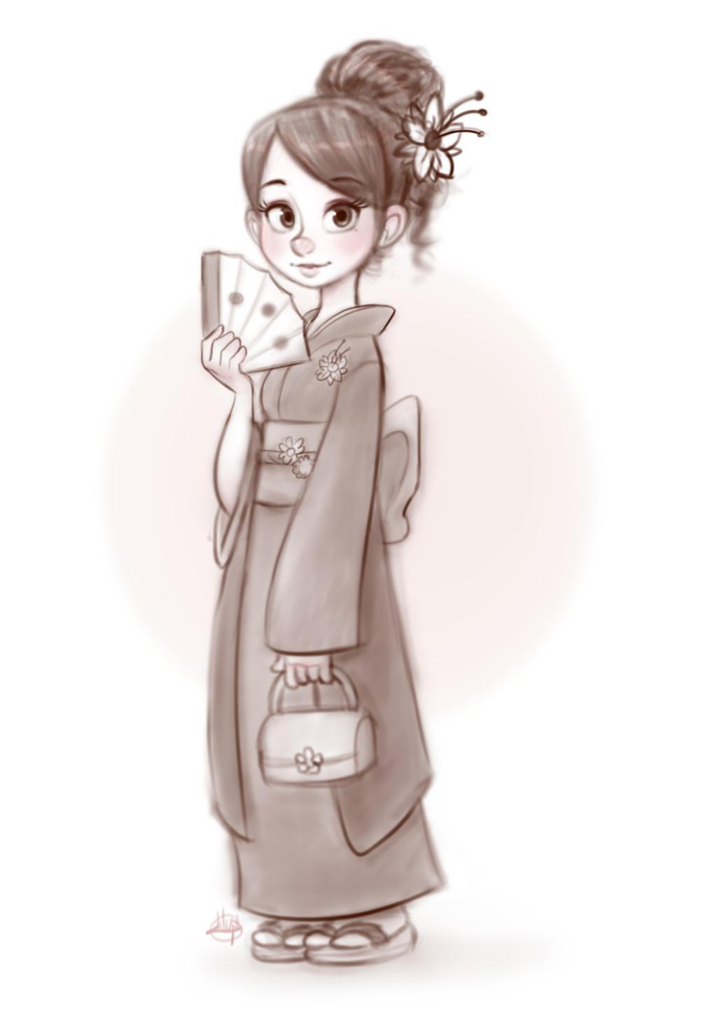 Disney Character Design Artist : Kimono girl by luigil on deviantart