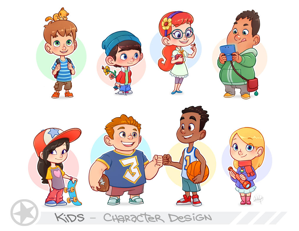 Character Design For Cartoon : Kids portfolio page by luigil on deviantart