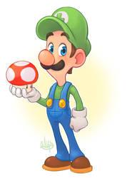 Luigi and a Mushroom