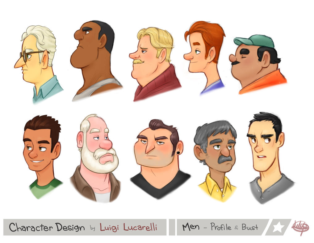 Animation Character Design Theory : Men profile bust by luigil on deviantart
