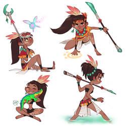 Tribal Girl Poses by LuigiL