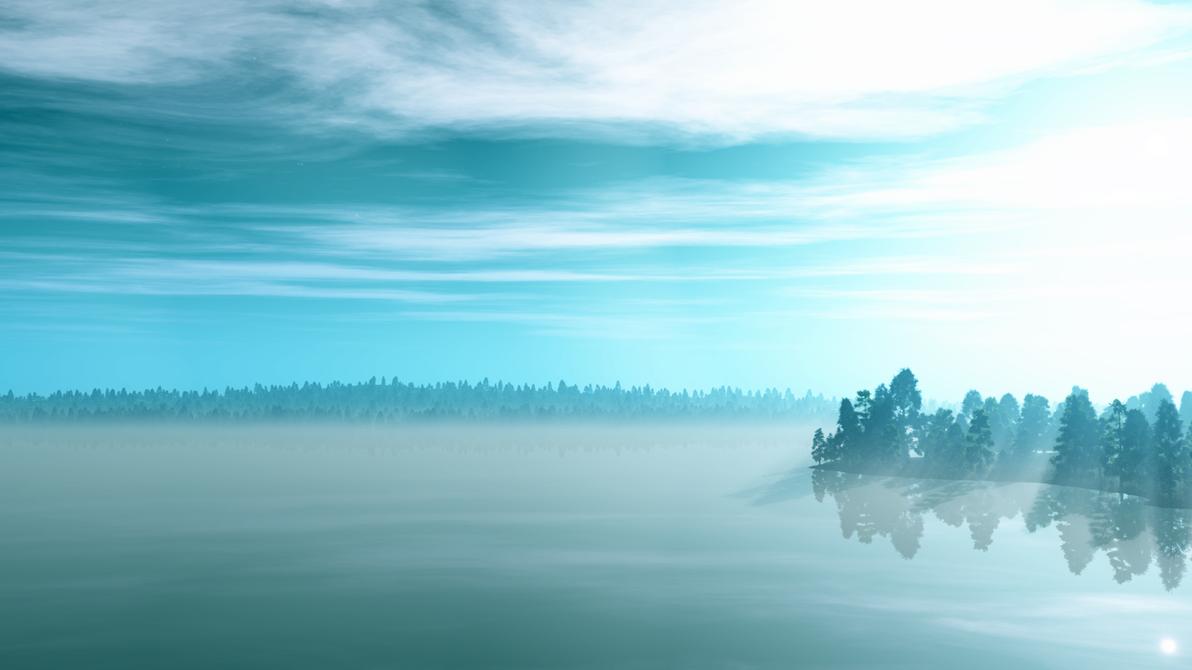 Misty Lake wallpaper by Vuenick
