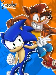 Sonic and Crash Bandicoot Fanart (Reuploaded) by ElCreatorDraws