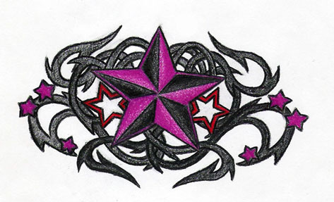Tribal Back Shoulder Tattoo Nautical Star + Tribal Thorn 2
