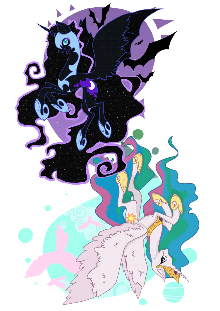 MLP Print - Celestia and Nightmare Moon by fizzypopfriday