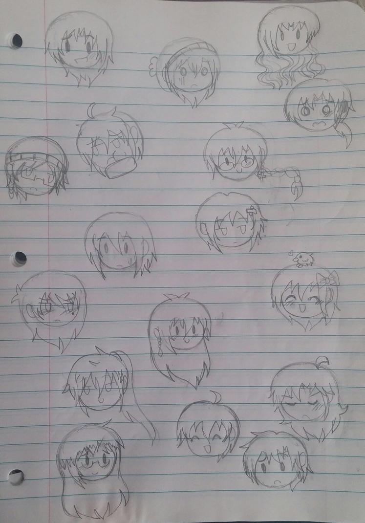Chibi genderbent heads by SapphireYuki-Sama
