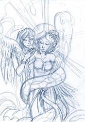 Angel and snake lady by hashhaha