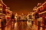 Main Street on a rainy night