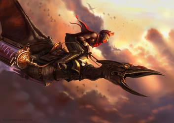 Steampunk dinoracer. Charcter design illustration