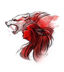 Anger. Wolf totem spirit