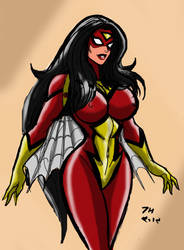 Spider-Woman pin up by johnnyharadrim