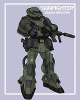 Zaku II 'Gunfighter' by johnnyharadrim