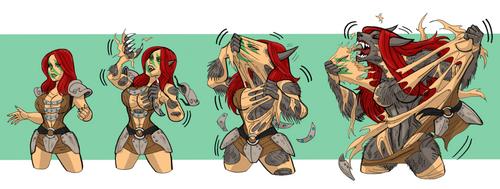 Aela bares her fangs! by johnnyharadrim