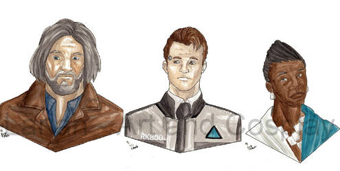 Hank, Connor, Amanda by WaldelfLarian