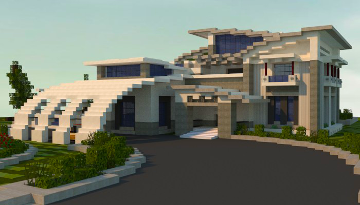 Minecraft modern house by jarnine on deviantart for Big modern houses on minecraft
