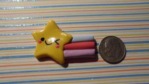 Kawaii Shooting Star Clay Charm!