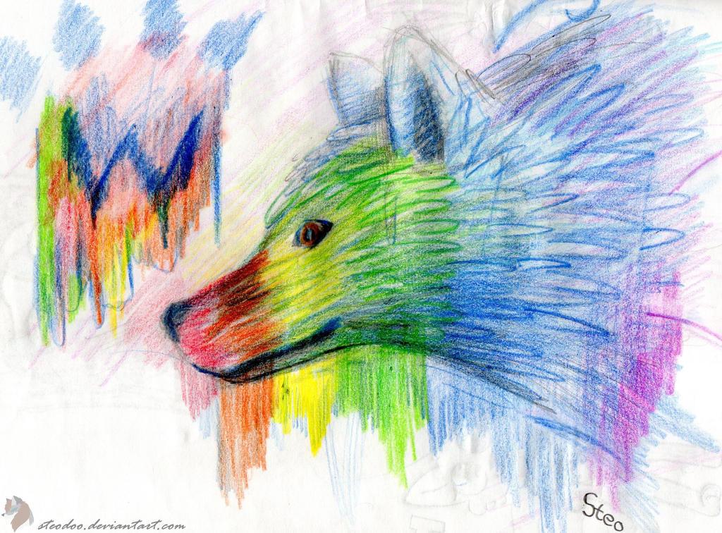Rainbow Wolf By Steodoo On DeviantArt