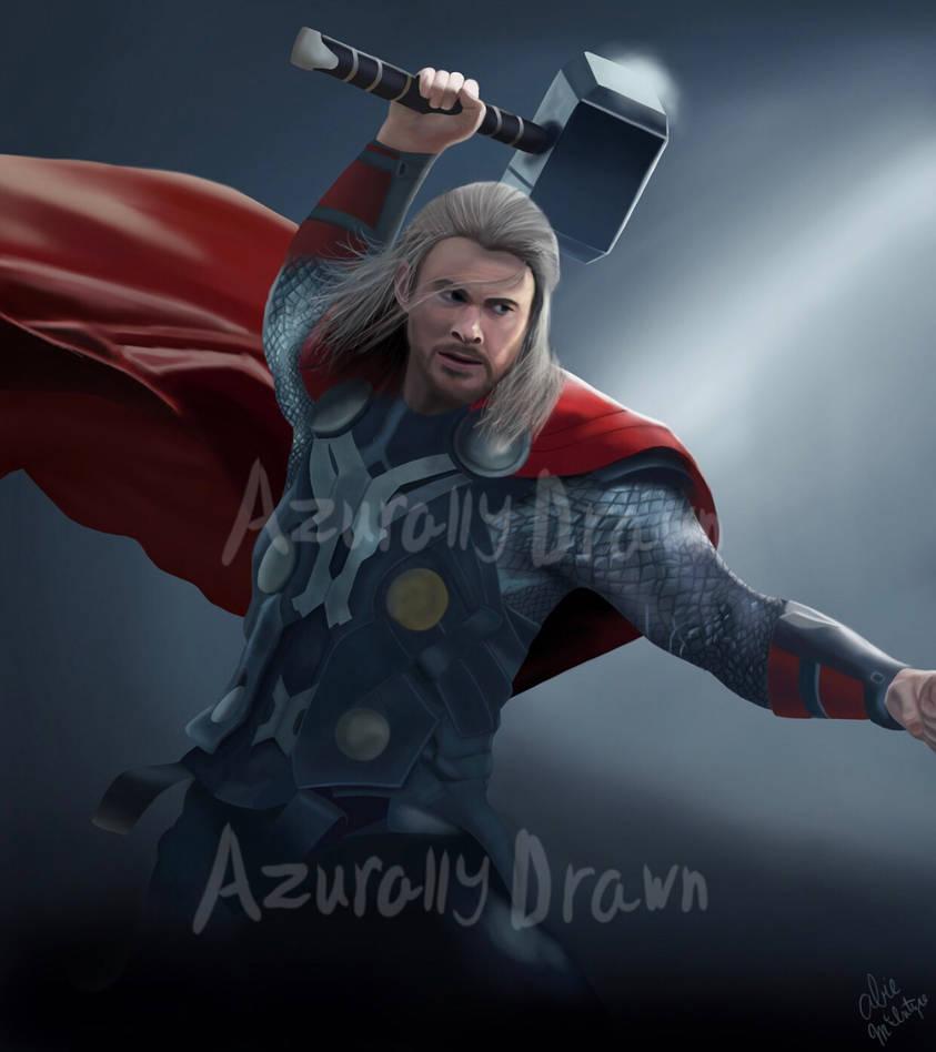 Thor drawing by azurallydrawn