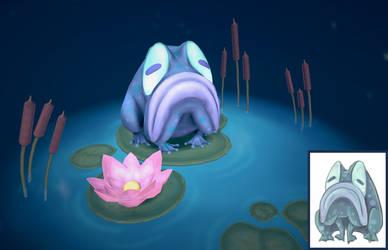 Sad Frog in a Bubble - 3D Model
