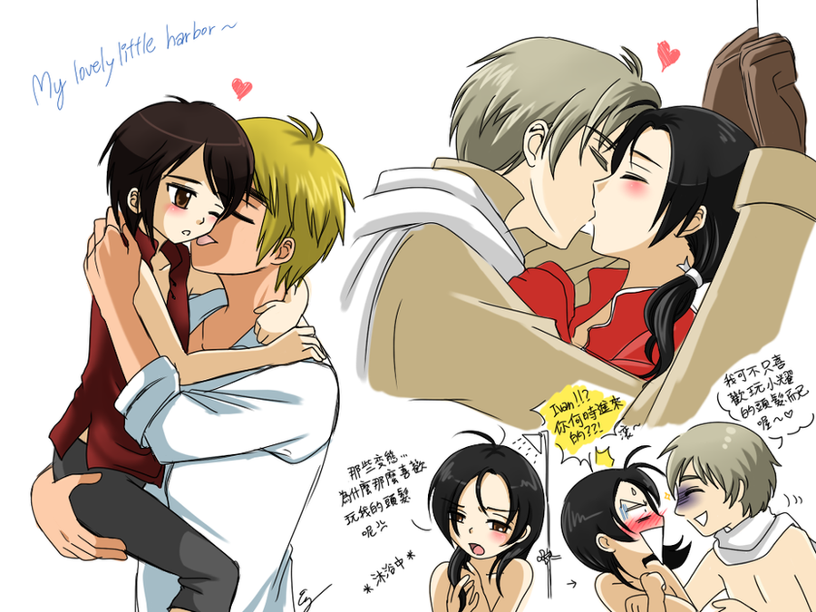 APH: CP doodles: England x HK and Rochu by Evelynism