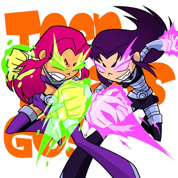Teen Titans Go!: Starfire VS Blackfire by Evelynism