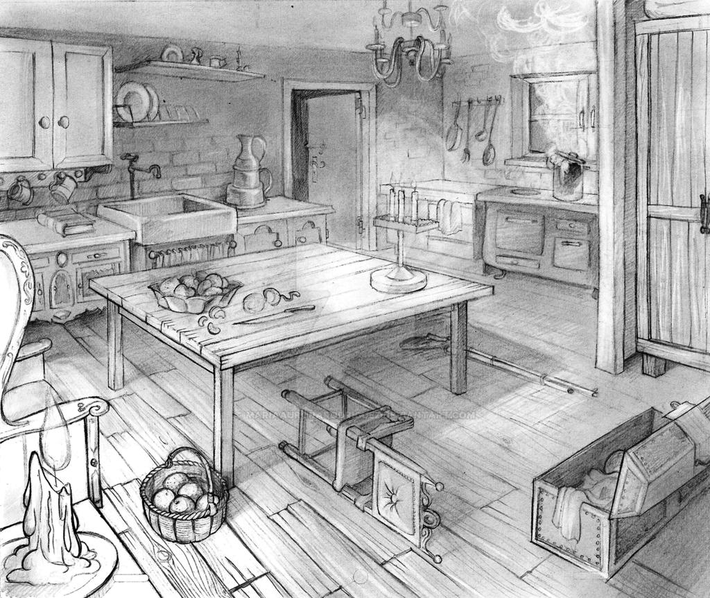 Layout two points perspective old kitchen by - Two point perspective living room ...