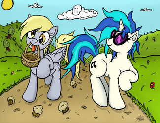 Derpy and Vinyl Colored (Collab w/ artponymdp!) by nzslice