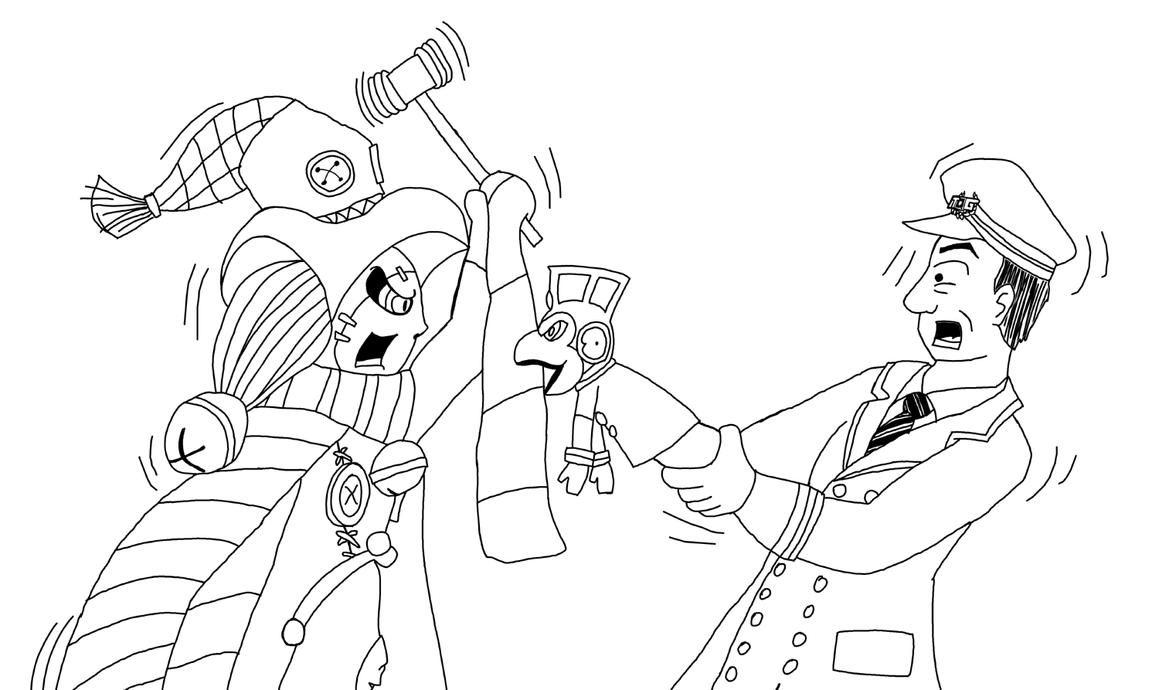 Super Sentai ~ Line Art ~ Luckyuro v Ticket by Drowin