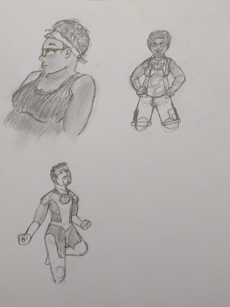 Superhero sketches by Drowin