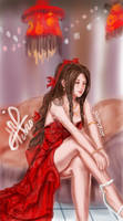 Preparing her Red Dress