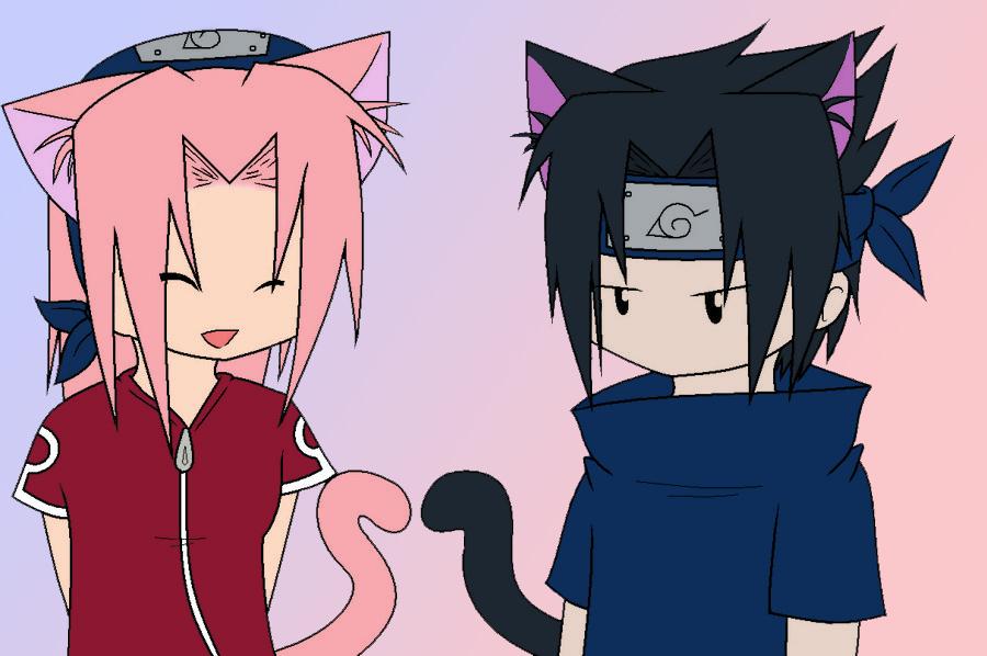 kawai cat Sasuke and sakura by GDMonster on DeviantArt  Sasuke As A Cat