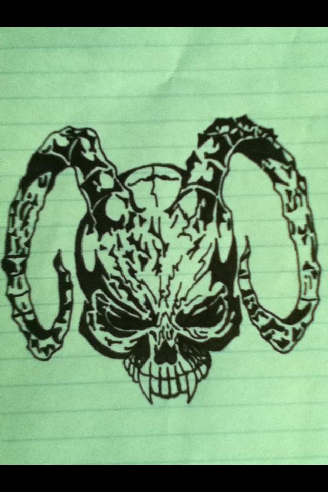 Horned skull Tattoo by v-is-a-beast on DeviantArt