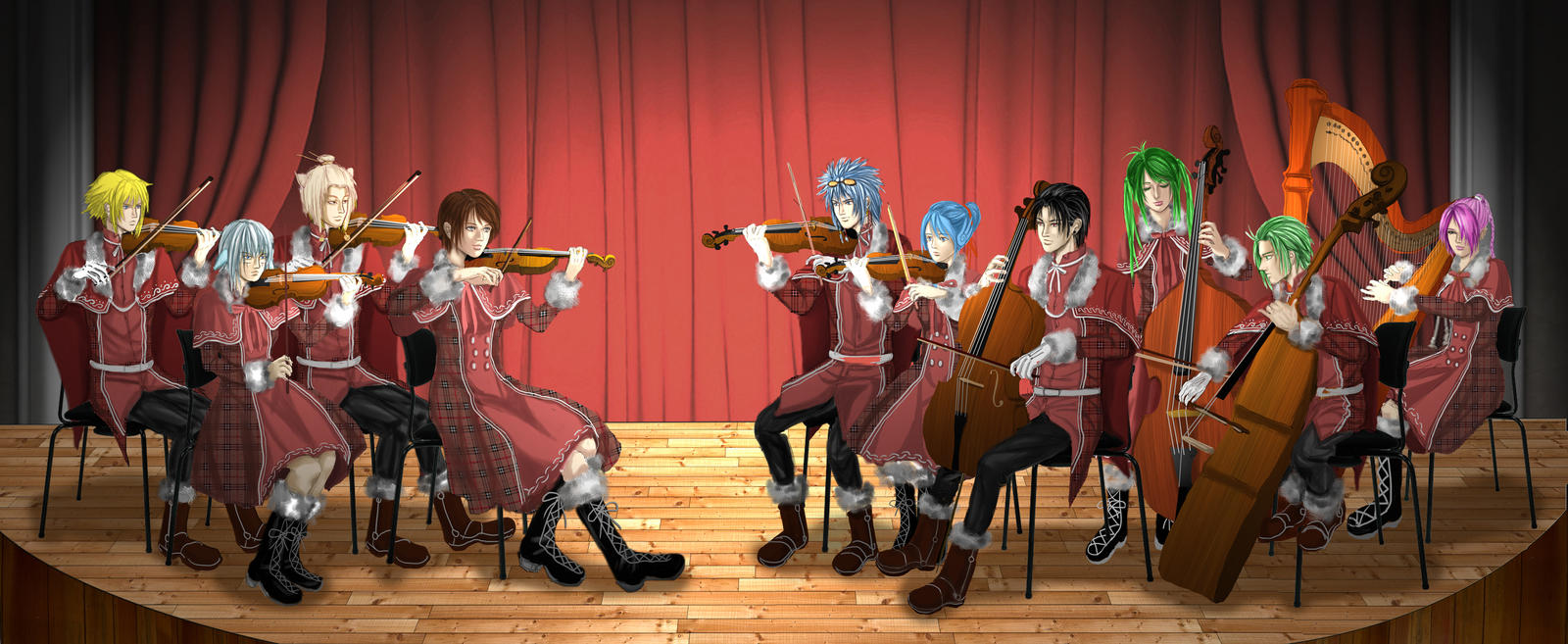 String Family-The Rehearsal by redpoenya