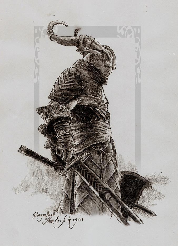 DA II Sketch - The Arishok by tankgirly