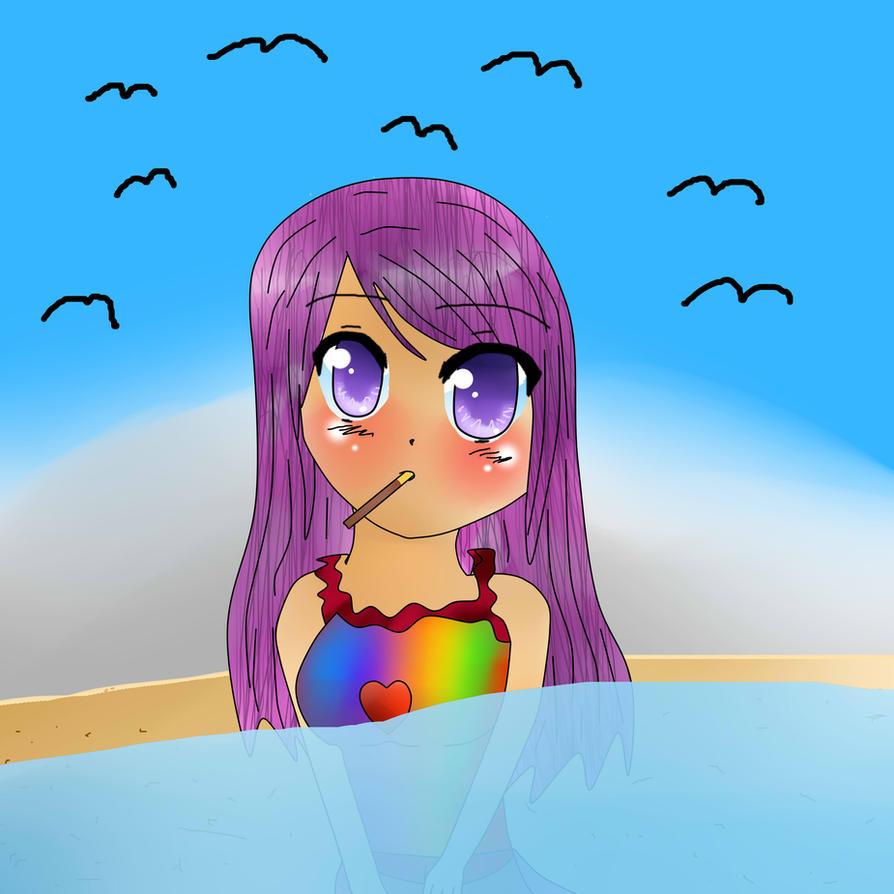 anime beach girlpinkcatstar on deviantart