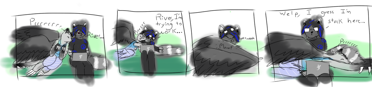 Riv and Rei: when your cat sleeps on top of you by a-moment-at-midnight