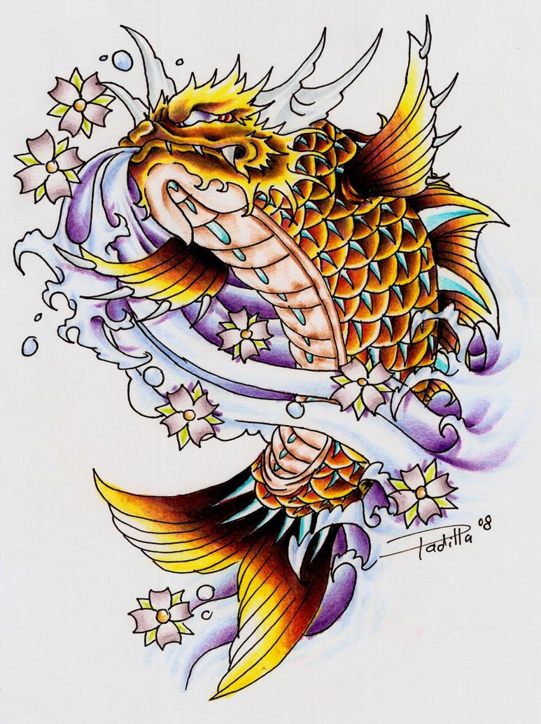 Pez Koi Tattoo. Colorful Flowers And Koi Dragon Sleeve Tattoos Photo ...