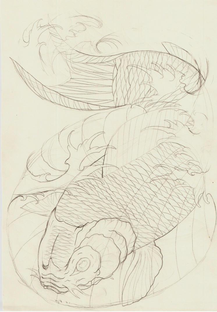 Koi fish vii outline by eltri on deviantart for Koi fish outline