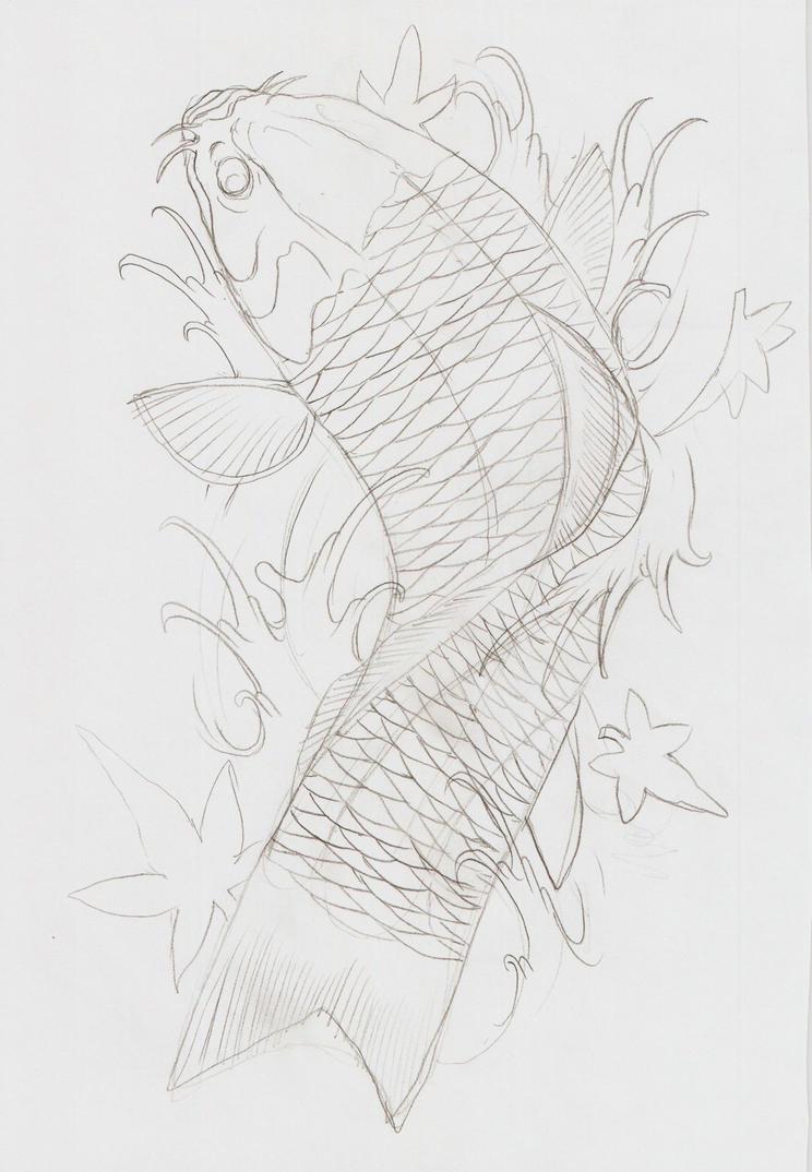 Koi fish viii outline by eltri on deviantart for Koi fish outline