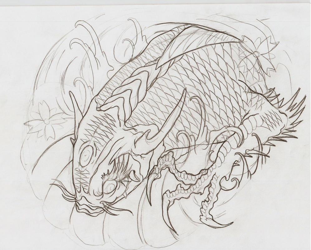 Koi dragon iii outline by eltri on deviantart for Koi fish outline