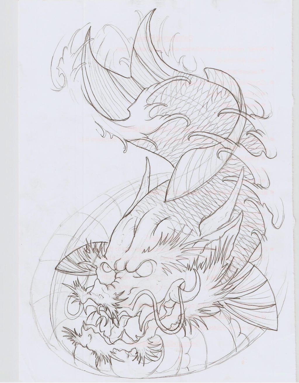 Koi dragon v outline by eltri on deviantart for Koi fish outline
