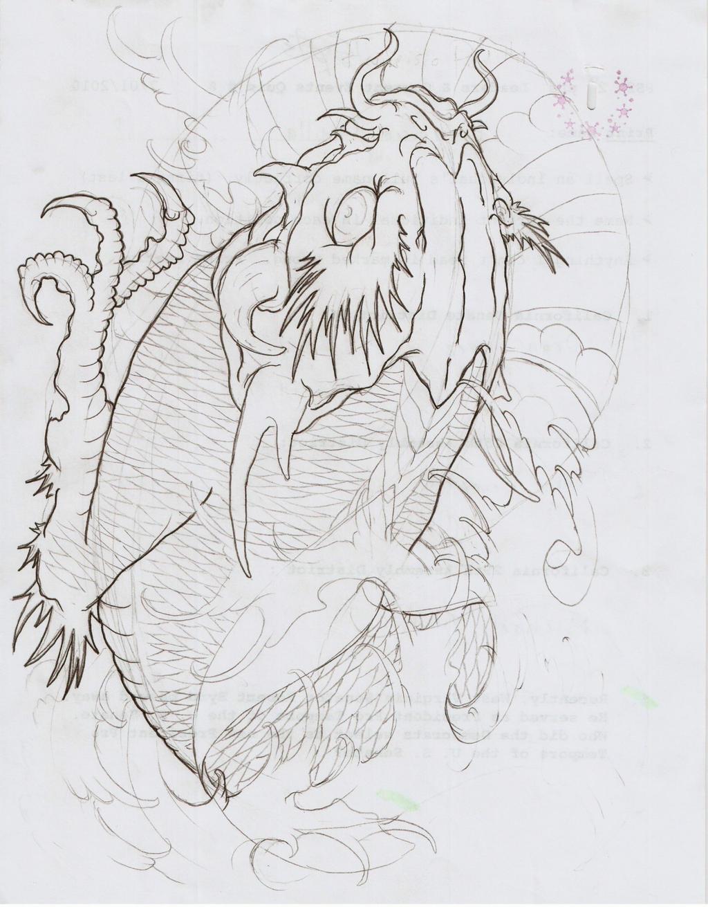 Koi dragon vi outline by eltri on deviantart for Koi fish outline