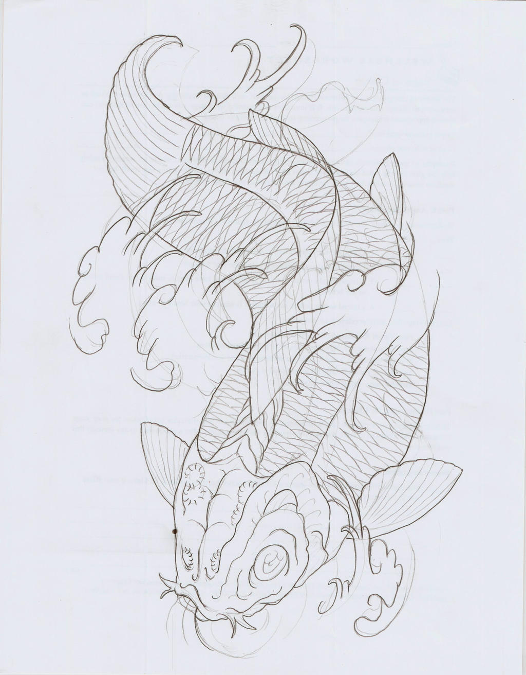 Koi fish xi outline by eltri on deviantart for Koi fish outline