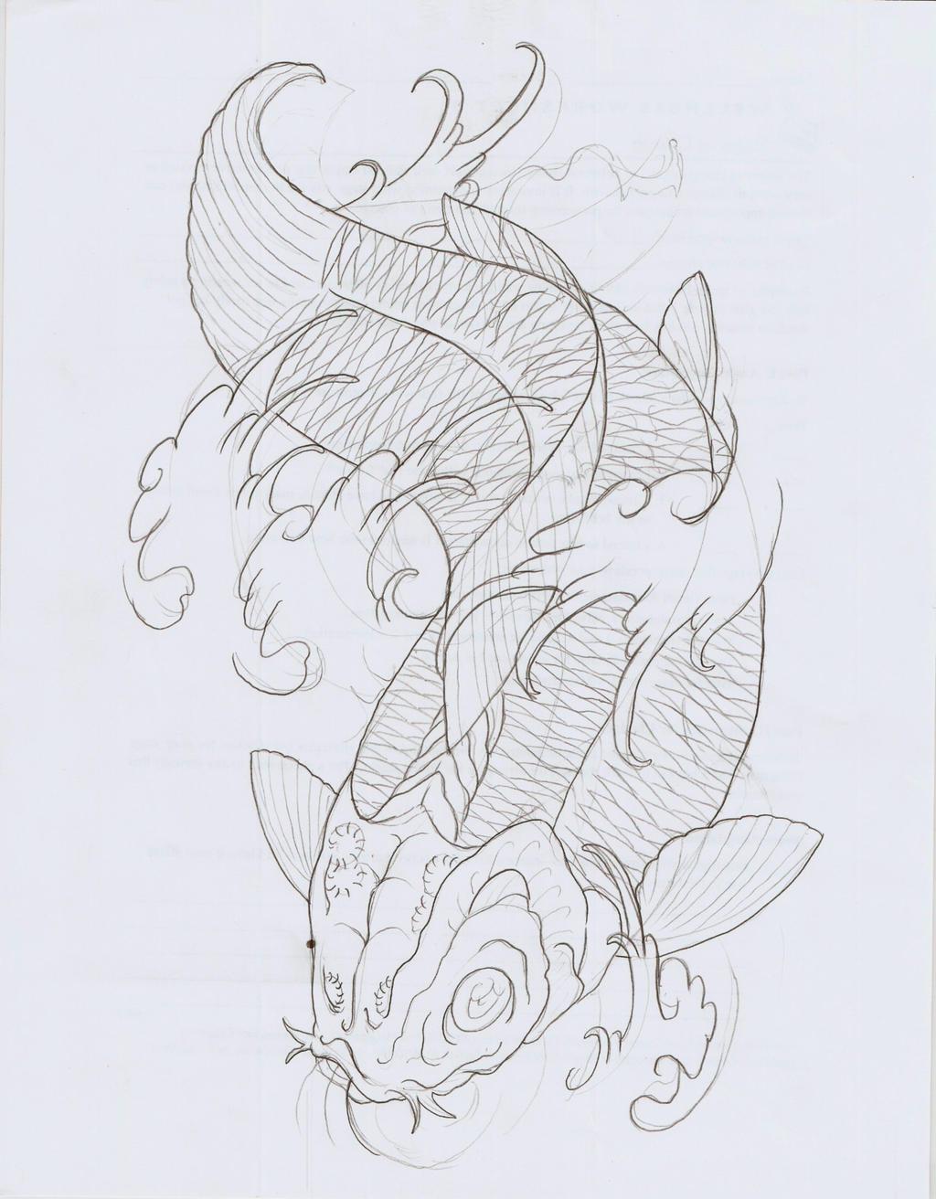 Koi fish xi outline by eltri on deviantart for Large coy fish