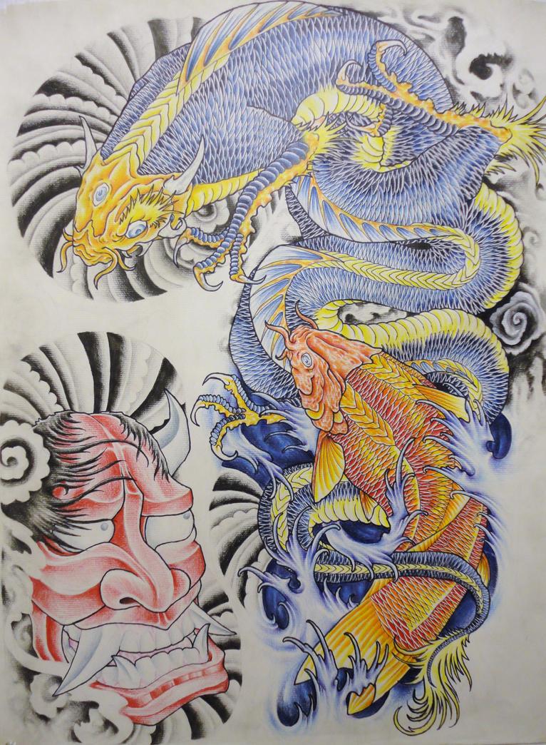 Koi dragon and koi project l by eltri on deviantart for Dragon koi fish