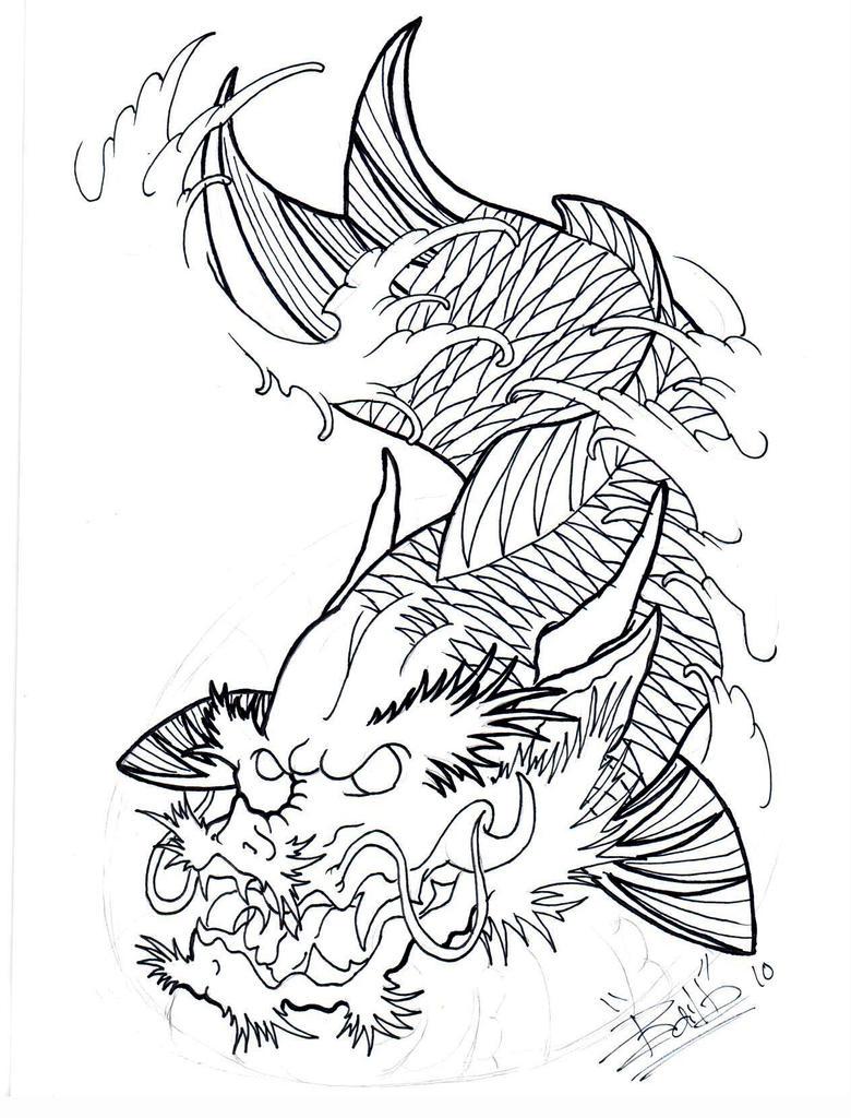 Dragon koi fish drawing outline for Black dragon koi