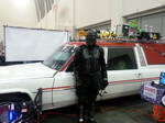 Ninja X in front of Ghostbusters 2016 car 1 of 2