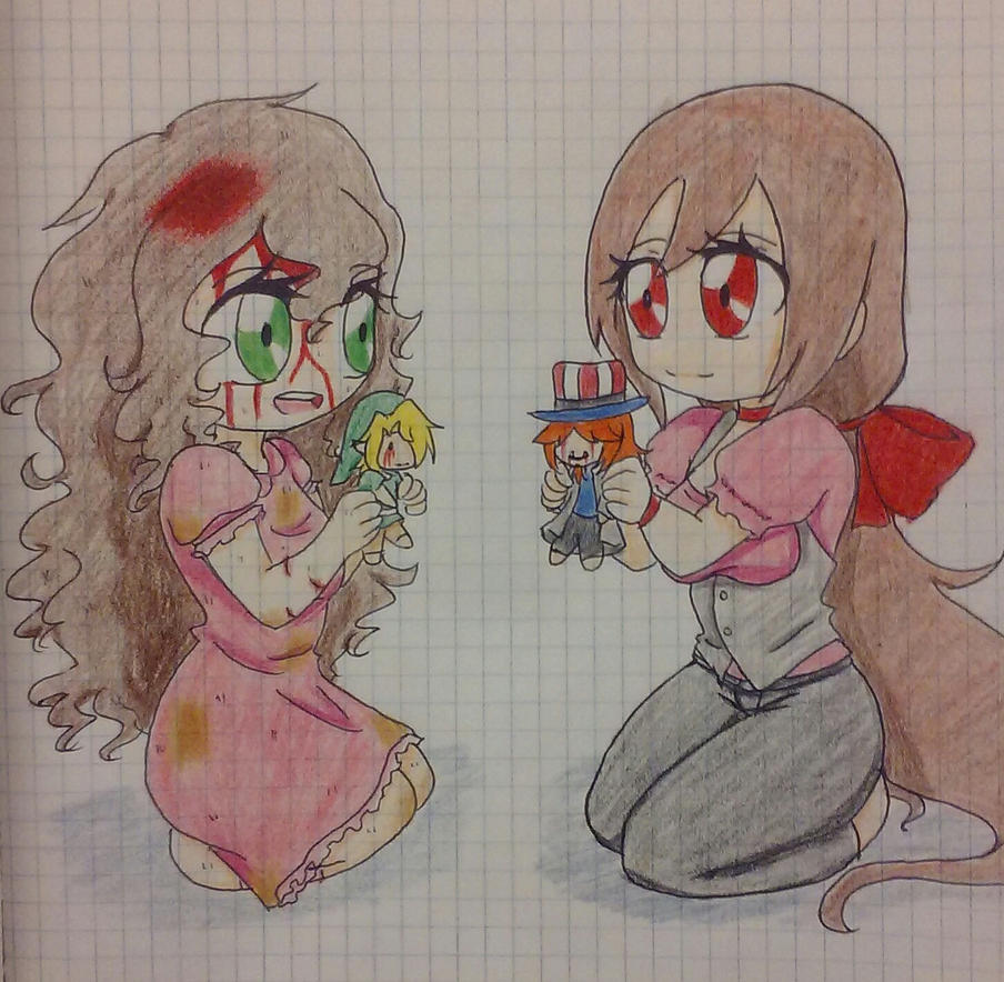 Chibi Laz And Sally With Plush Sam And Ben By